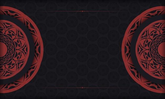 Design de cartão postal de vetor com padrões gregos. banner preto e vermelho com enfeites luxuosos para seu logotipo.
