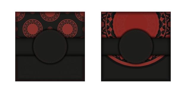 Design de cartão postal na cor preta e vermelha com padrões luxuosos. cartão de convite de vetor com lugar para o seu texto e ornamento vintage.