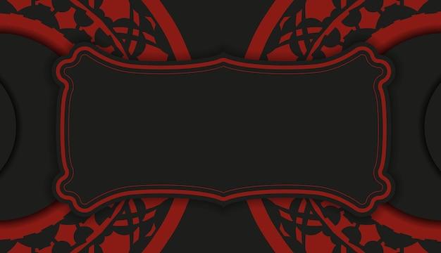 Design de cartão postal na cor preta e vermelha com padrões luxuosos. design de cartão de convite com espaço para o seu texto e ornamentos vintage.