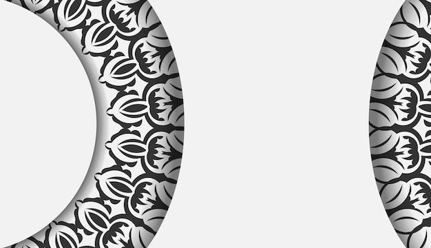 Design de cartão postal pronto para imprimir cores brancas com enfeite de mandala. modelo de convite com espaço para o seu texto e padrões vintage.