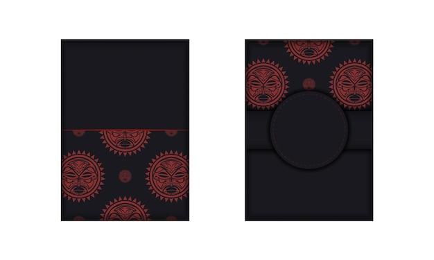 Design de cartão postal pronto para imprimir em preto com a máscara dos deuses. um modelo de convite com um lugar para o seu texto e um rosto em estilo polizeniano.