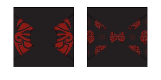 Design de cartão postal pronto para imprimir na cor preta com padrões de máscara dos deuses. modelo de convite com um lugar para o seu texto e um rosto em uma ornamentação de estilo polizenian.