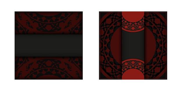 Design de cartão postal vermelho preto com ornamentos luxuosos. cartão de convite de vetor com lugar para o seu texto e padrões vintage.