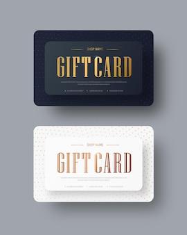 Design de cartão-presente em vetor preto e branco com texto dourado e pontos