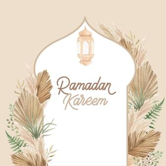 Design de cartão ramadan kareem com arranjo floral boho