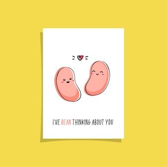 Design de cartão simples com um vegetariano fofo e uma frase - estou pensando em você. kawaii desenhando com feijão