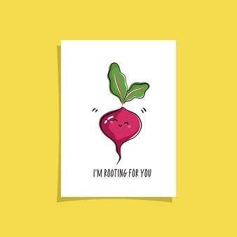 Design de cartão simples com vegetariano fofo e frase. desenho kawaii com beterraba