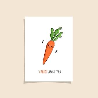 Design de cartão simples com vegetariano fofo e frase. kawaii desenhando com cenoura