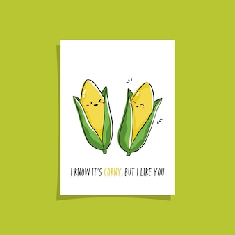 Design de cartão simples com vegetariano fofo e frase. kawaii desenhando com milho. ilustração com milho fofo