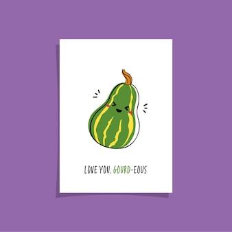Design de cartão simples com vegetariano fofo e frase - te amo, cabaça. kawaii desenhando com cabaça