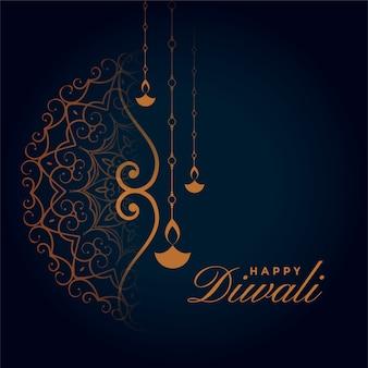 Design de cartão tradicional do festival de diwali decorativo indiano