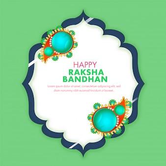 Design de cartão verde e branco decorado com rakhis de pérolas e texto feliz raksha bandhan.