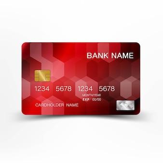 Design de cartão vermelho detalhado realista