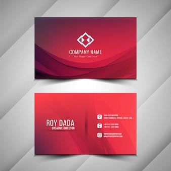 Design de cartão vermelho elegante ondulado abstrato