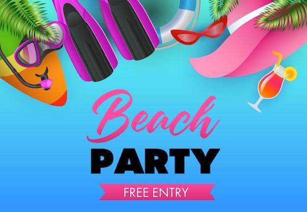 Design de cartaz colorido de festa de praia. prancha de surfe