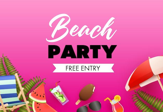 Design de cartaz colorido de festa de praia. sorvete, coquetel