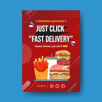 Design de cartaz com comida, hambúrguer, batatas fritas, ilustração de pintura em aquarela de pizza.