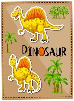 Design de cartaz com dois spinossauro