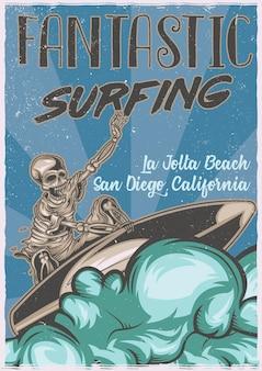 Design de cartaz com esqueleto na prancha de surf