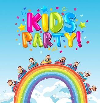 Design de cartaz com festa de crianças de palavra e carro de macaco