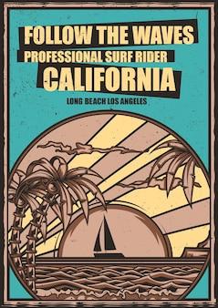 Design de cartaz com ilustração da praia com palmeiras e pôr do sol no fundo
