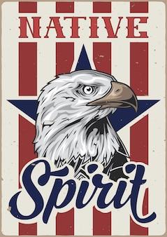 Design de cartaz com ilustração de cabeça de águia