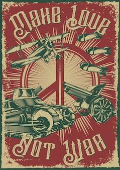 Design de cartaz com ilustração de equipamento militar