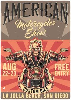 Design de cartaz com ilustração de motociclista morto