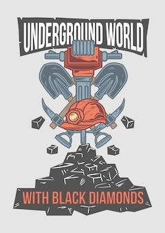 Design de cartaz com ilustração de pá de mineração e pedras.