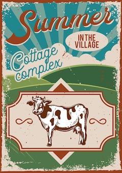 Design de cartaz com ilustração de propaganda com uma vaca e um campo