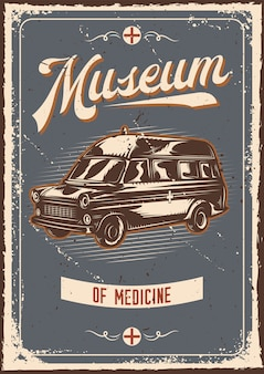 Design de cartaz com ilustração de publicidade com carro de emergência