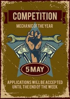 Design de cartaz com ilustração de publicidade de competição de automóveis
