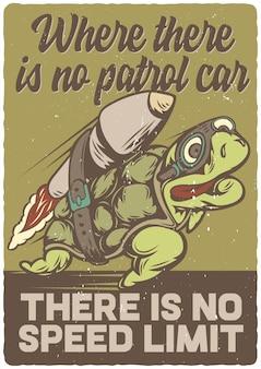 Design de cartaz com ilustração de tartaruga no foguete