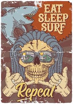 Design de cartaz com ilustração de tubarão, crânio e mão gesto