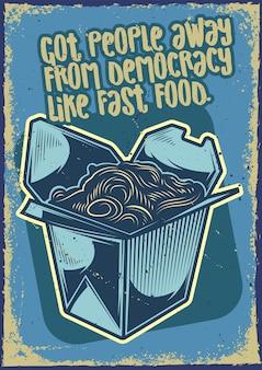 Design de cartaz com ilustração de um udon