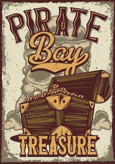 Design de cartaz com ilustração de uma caixa com moedas de ouro