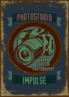 Design de cartaz com ilustração de uma câmera