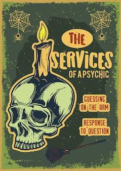 Design de cartaz com ilustração de uma caveira com uma vela