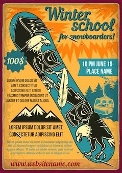 Design de cartaz com ilustração de uma prancha de snowboard.