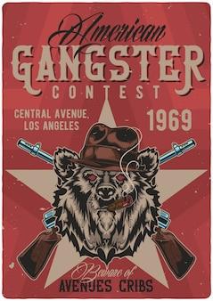 Design de cartaz com ilustração de urso gangster