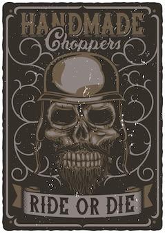 Design de cartaz com ilustração do crânio de motociclista