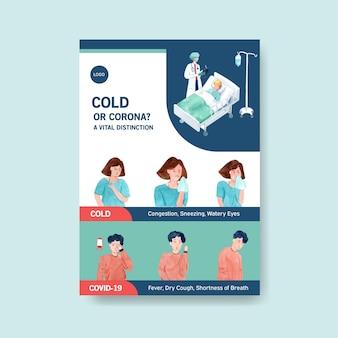 Design de cartaz com informações sobre a doença e cuidados de saúde