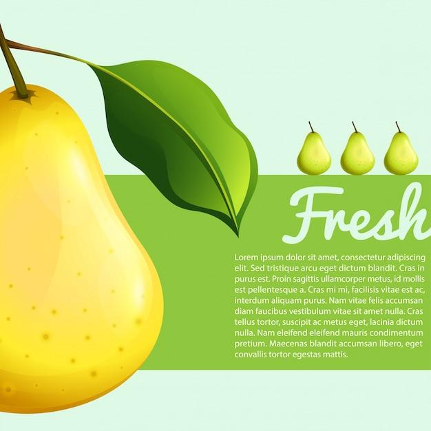Design de cartaz com pera fresca