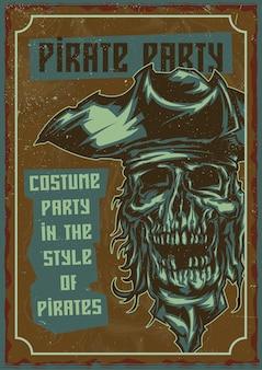 Design de cartaz com pirata morto no chapéu.