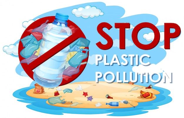 Design de cartaz com sacos de plástico e garrafas