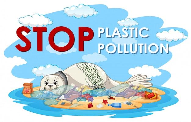 Design de cartaz com selo e sacos de plástico