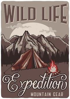 Design de cartaz com tenda na floresta.