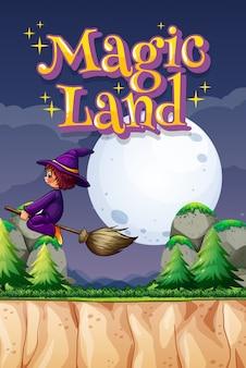 Design de cartaz com terra mágica de palavra e bruxa voando sobre a montanha