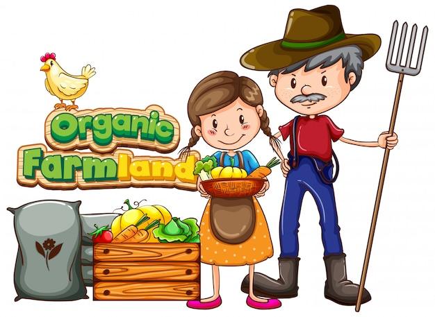 Design de cartaz com terras orgânicas da palavra e dois agricultores