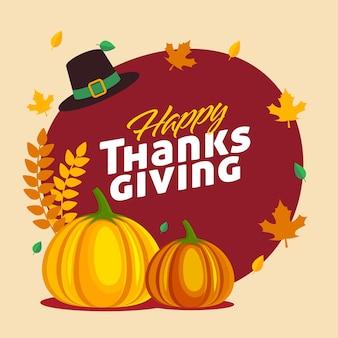 Design de cartaz de ação de graças feliz com abóboras, chapéu de peregrino e folhas de outono decoradas em fundo vermelho e bege.